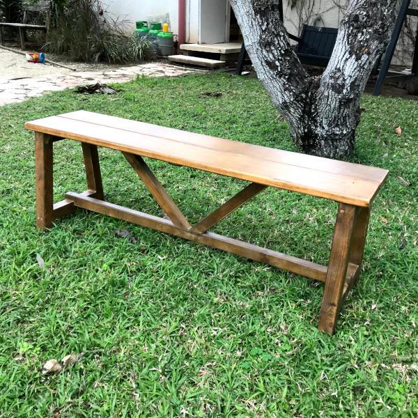 ספסל עץ ללא משענת 160/38 גובה 45