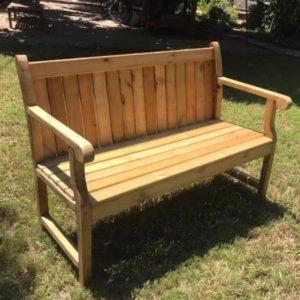 ספסל עץ כולל משענת 120/55 גובה 45