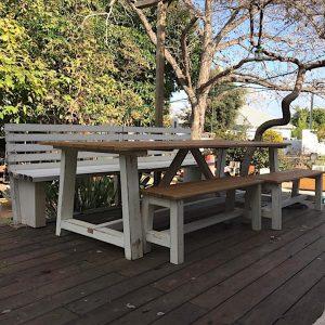 שולחן עץ לחצר 215/100 – אורן קרוליינה
