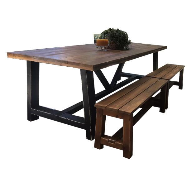 שולחן עץ לחצר 300/100 ו2 ספסלים